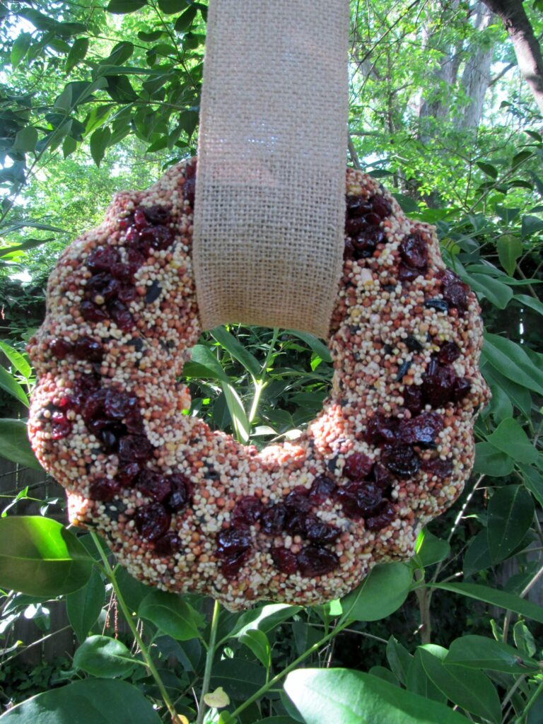 how to make a bird feeder wreath, There's Sugar in My Tea, Charlotte NC Lifestyle DIY Blog