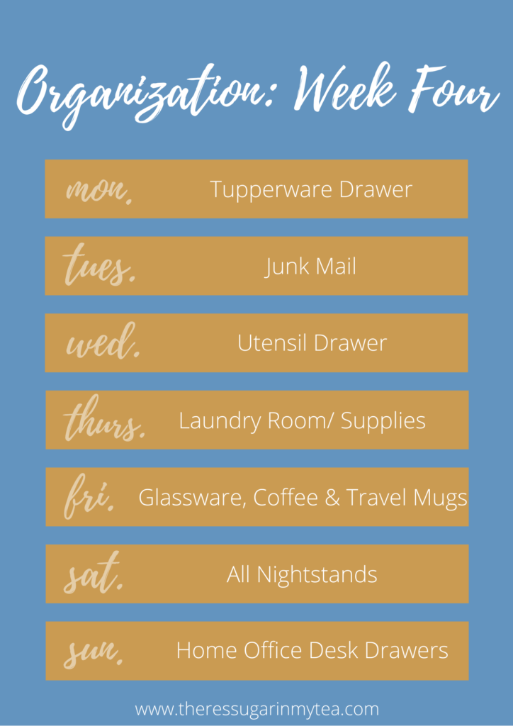 Get Organized in 4 Weeks, how to get organized. how to reorganize your home in just 4 weeks, There's Sugar in My Tea, Charlotte NC Blog